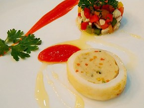 New taste of squid stuffed with chicken served with kumquat